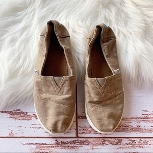 TOMS Desert Taupe Foil Feathers Shoes